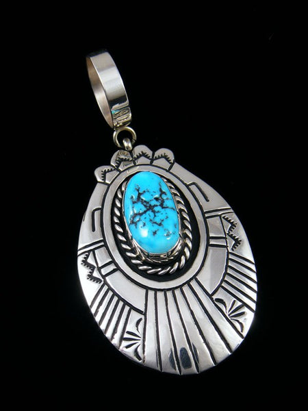 Native American Turquoise Sterling Silver Overlay Pendant