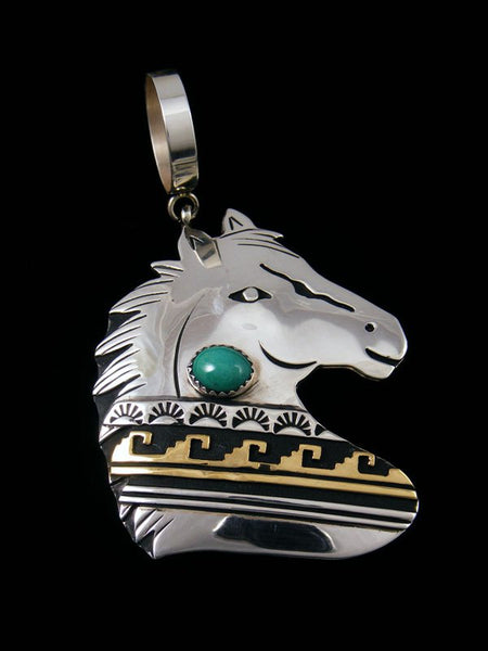 Native American Turquoise Gold and Silver Overlay Horse Pendant