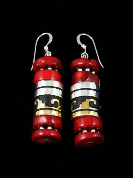 Navajo Coral Dangle Earrings