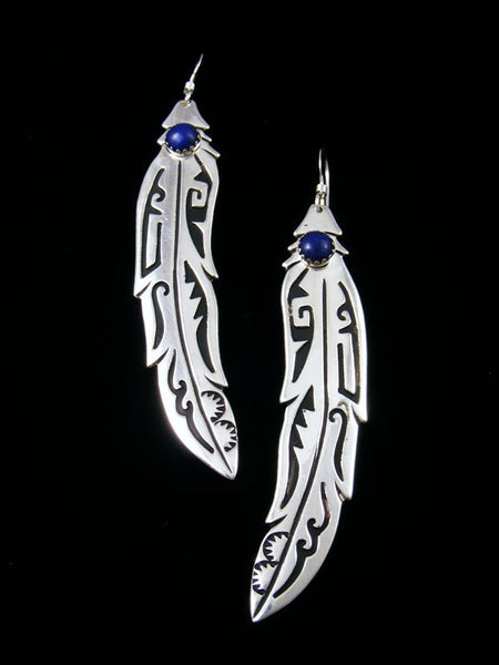 Navajo Sterling Silver Overlay Lapis Dangle Feather Earrings