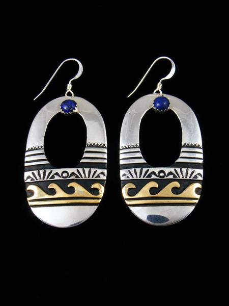 Navajo Sterling Silver and Gold Overlay Lapis Dangle Earrings