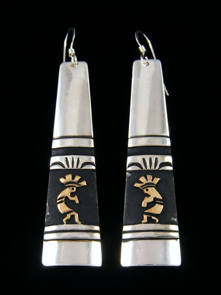 Navajo Sterling Silver and Gold Dangle Overlay Kokopelli Earrings