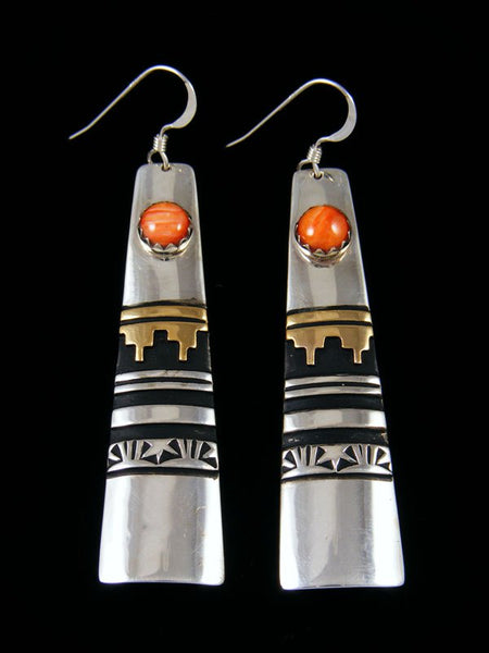 Navajo Sterling Silver and Gold Overlay Spiny Oyster Dangle Earrings