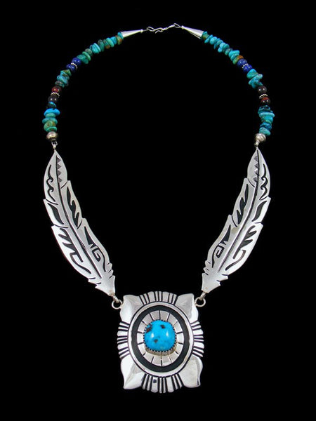 Navajo Sterling Silver Feather Turquoise Bead Necklace