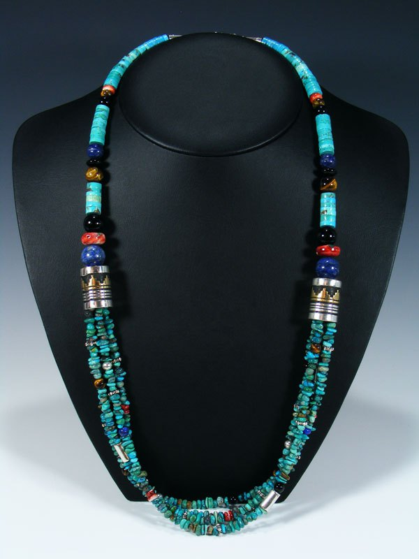 "Spiny Oyster and Turquoise Multi Strand 30"" Beaded Necklace"