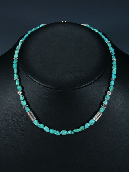"18"" Turquoise Single Strand Choker Bead Necklace"