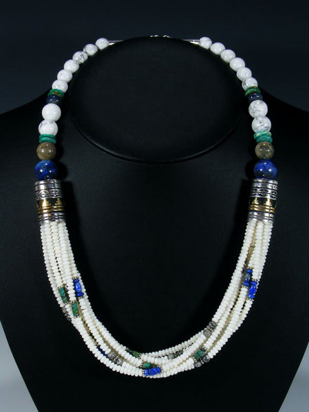 Lapis and White Marble Multi Strand Bead Necklace