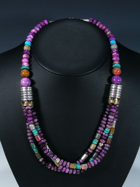 "Dyed Jasper and Turquoise 24"" Multi Strand Bead Necklace"