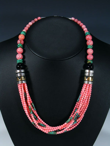 Pink Coral and Turquoise Multi Strand Bead Necklace