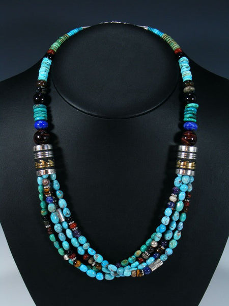 "Turquoise Gemstone 24"" Multi Strand Beaded Necklace"