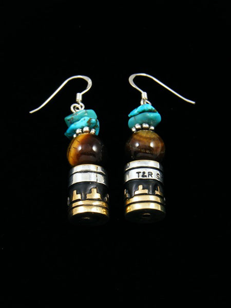 Turquoise and Tiger Eye Dangle Earrings