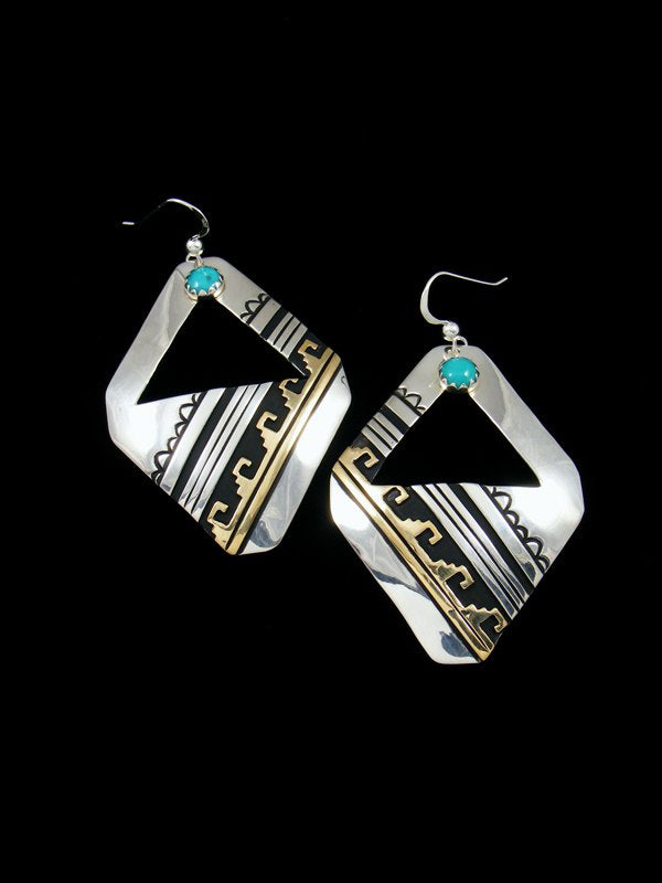 Navajo Sterling Silver Turquoise Overlay Dangle Earrings