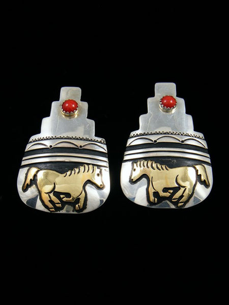 Navajo Sterling Silver and Gold Overlay Coral Horse Earrings
