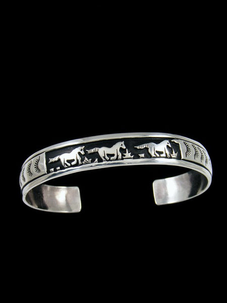 Native American Sterling Silver Overlay Horse Bracelet