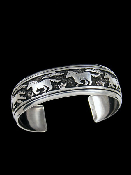 Navajo Sterling Silver Overlay Horse Cuff Bracelet