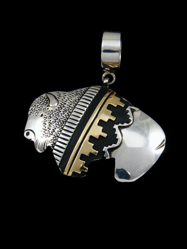Native American Gold and Silver Overlay Buffalo Pendant