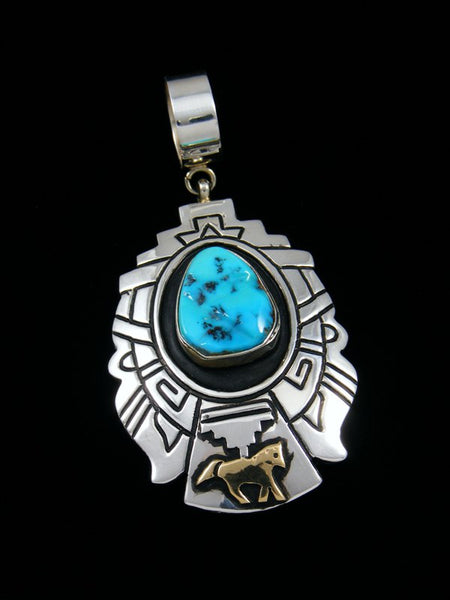 Native American Silver and Gold Overlay Sleeping Beauty Turquoise Pendant
