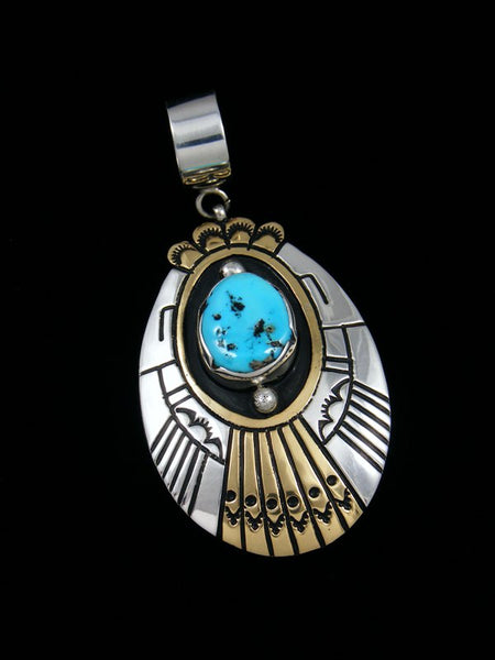 Native American Silver and 12k Gold Filled Overlay Sleeping Beauty Turquoise Pendant