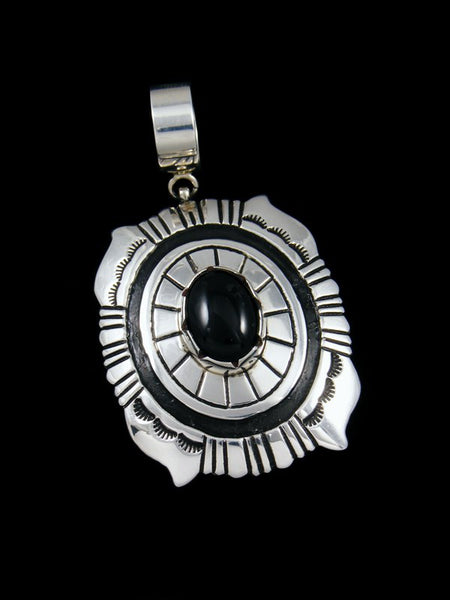 Native American Silver Overlay Onyx Pendant