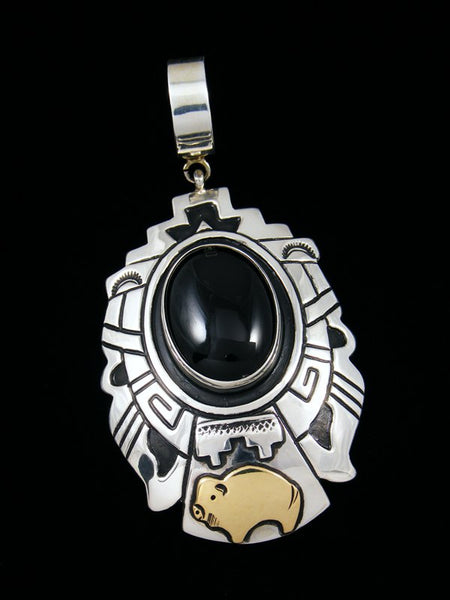 Native American Silver and 12k Gold Filled Overlay Onyx Pendant