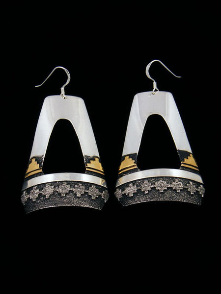 Navajo Etched Sterling Silver and Gold Dangle Overlay Earrings