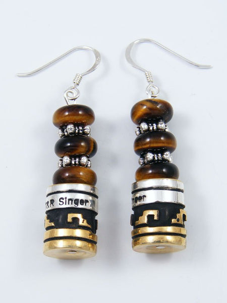 Navajo Tiger Eye Dangle Overlay Bead Earrings
