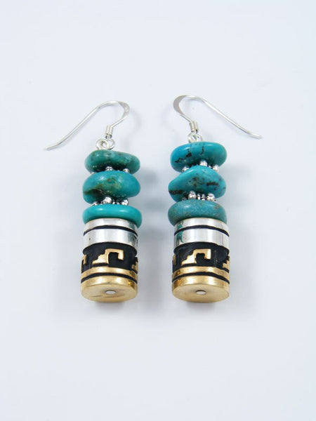Navajo Turquoise Dangle Overlay Bead Earrings