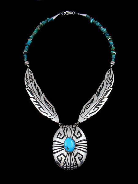 Sterling Silver Feather Turquoise Bead Necklace