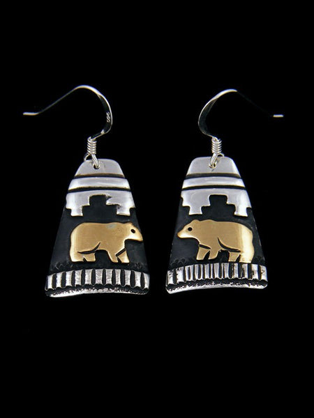 Sterling Silver and Gold Dangle Bear Earrings
