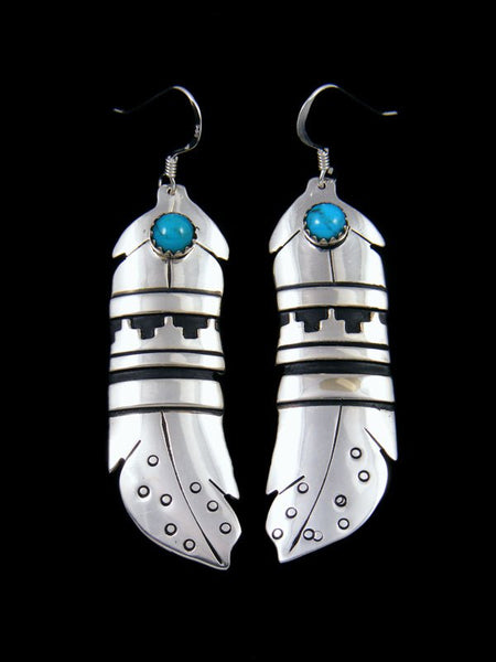 Sterling Silver and Turquoise Feather Dangle Earrings