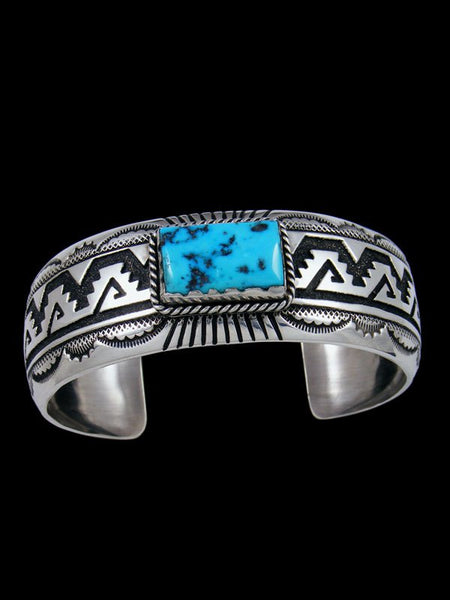 Native American Sterling Silver Natural Sleeping Beauty Turquoise Cuff Bracelet