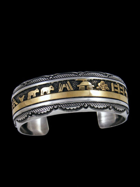 Navajo Sterling Silver and Gold Storyteller Overlay Cuff Bracelet