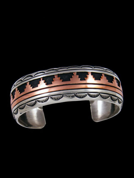 Navajo Sterling Silver and Copper Overlay Cuff Bracelet