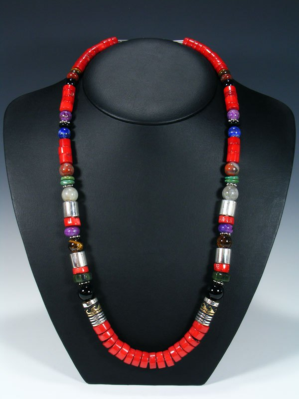 "Navajo Coral and Onyx 28"" Single Strand Beaded Necklace"
