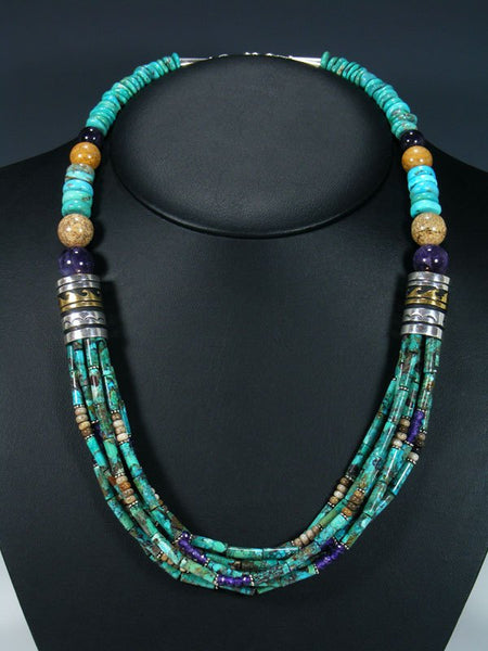 "24"" Navajo Turquoise and Amethyst Multi Strand Beaded Necklace"