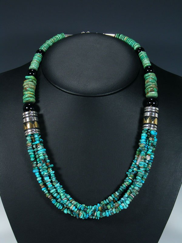 "Navajo Onyx and Turquoise 24"" Multi Strand Bead Necklace"