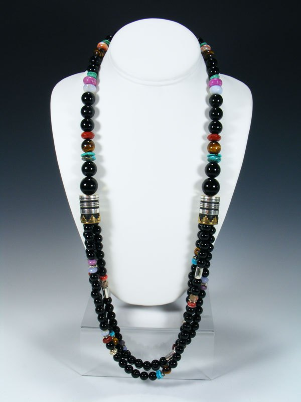 "Black Onyx and Turquoise Multi Strand 30"" Beaded Necklace"