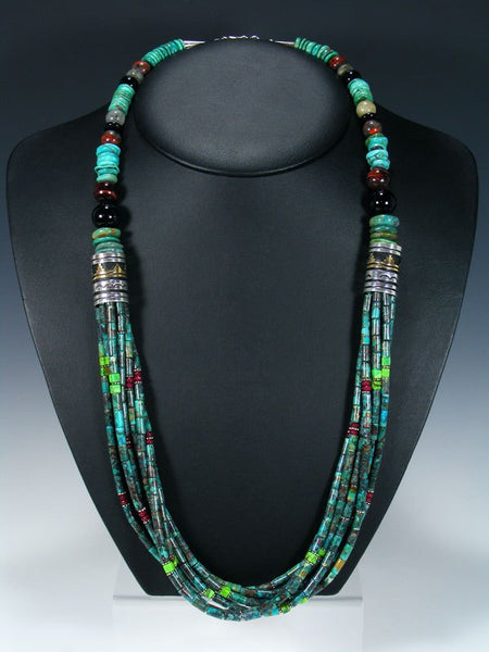 "Turquoise and Tiger Eye Multi Strand 30"" Beaded Necklace"
