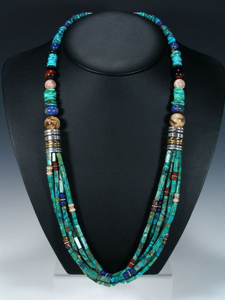"Turquoise and Lapis Multi Strand 30"" Beaded Necklace"