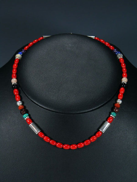 "16"" Coral and Turquoise Single Strand Beaded Necklace"