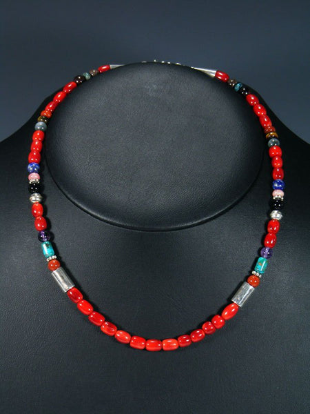 "18"" Red Coral Single Strand Choker Bead Necklace"