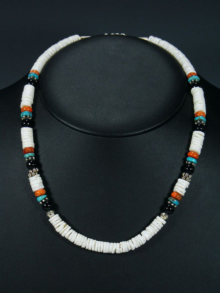 "20"" Single Strand Beaded White Shell and Turquoise Necklace"