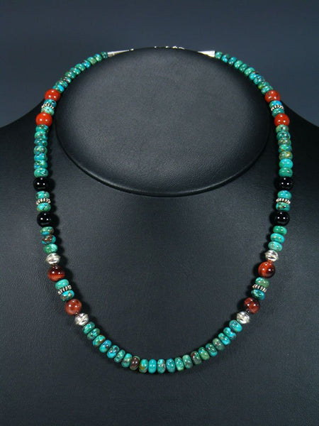 "20"" Single Strand Beaded Turquoise and Tiger Eye Necklace"