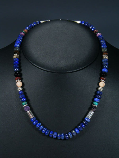 "20"" Single Strand Beaded Lapis and Onyx Necklace"