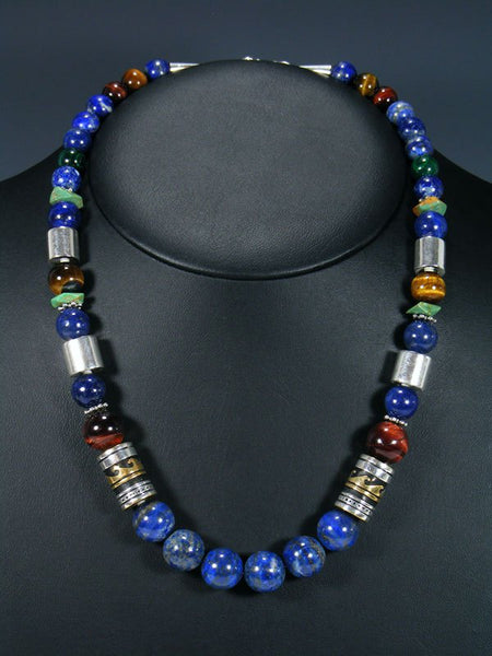 "21"" Lapis and Tiger Eye Large Single Strand Beaded Necklace"
