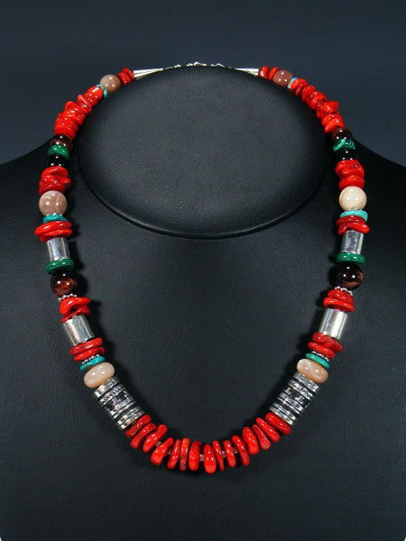 "21"" Coral and Turquoise Single Strand Bead Necklace"
