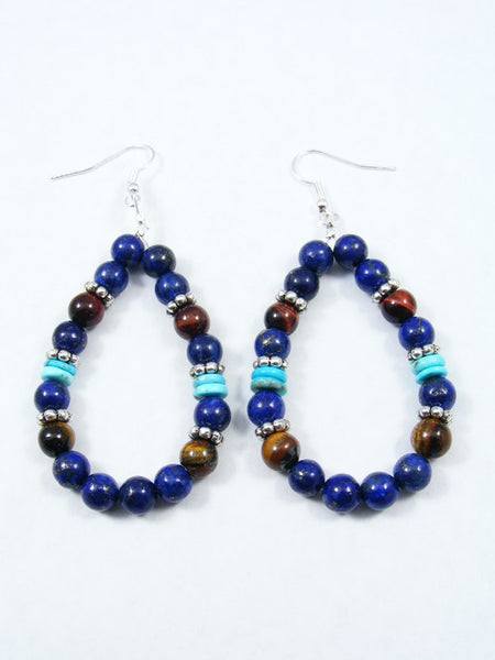 Navajo Lapis and Turquoise Dangle Earrings
