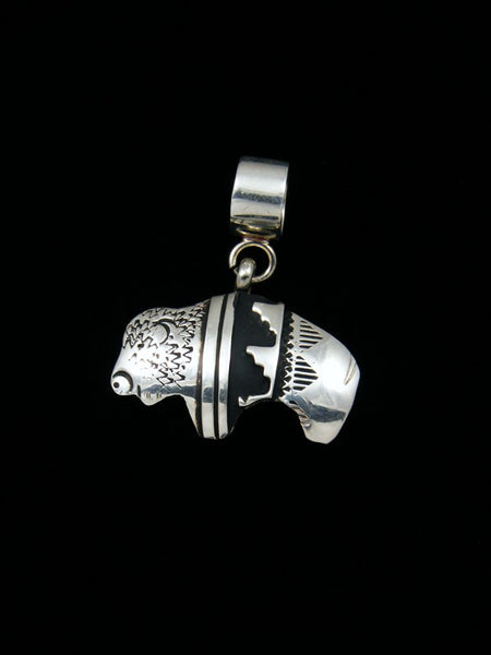 Native American Sterling Silver Overlay Buffalo Pendant
