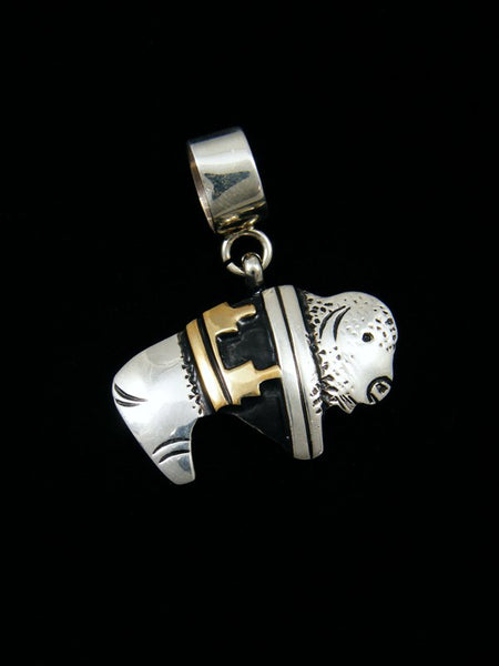 Native American Sterling Silver and Gold Overlay Buffalo Pendant