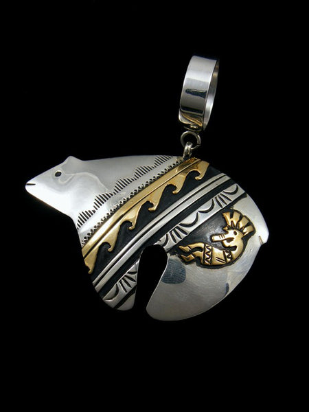 Native American Gold and Silver Overlay Bear Pendant with Kokopellis